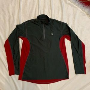 1/4 Zip Red & Black Under Armour Size L